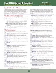 Microsoft Excel 2016 Cheat Sheet