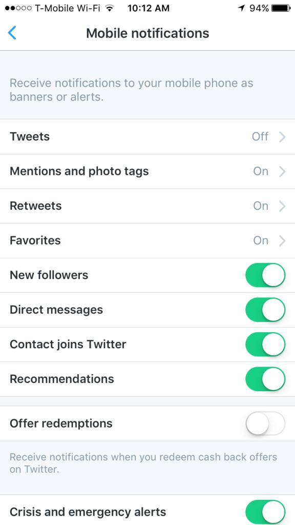 Twitter mobile app notifications settings