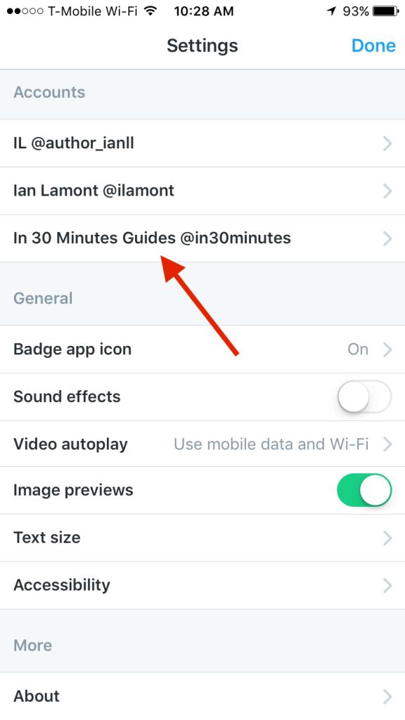 Twitter mobile app settings