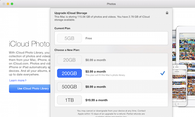 iCloud Photo Library paid tiers