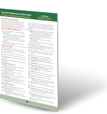 Excel 2016 Cheat Sheet printed