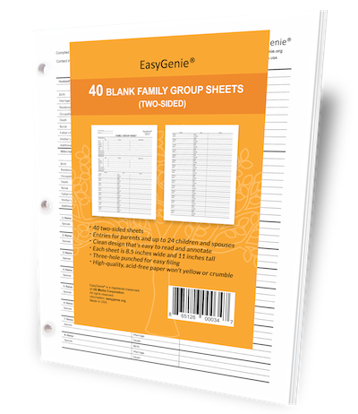 blank family group sheets pack of 40