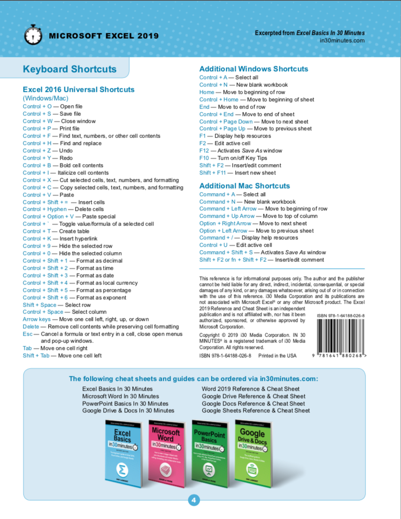 Excel 2019 Cheat Sheet (printed)