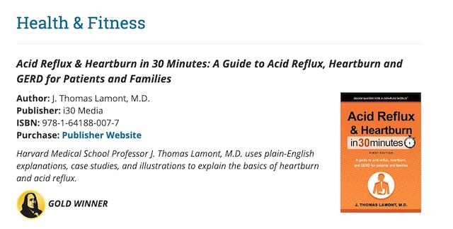 Acid Reflux & Heartburn In 30 Minutes Ben Franklin award
