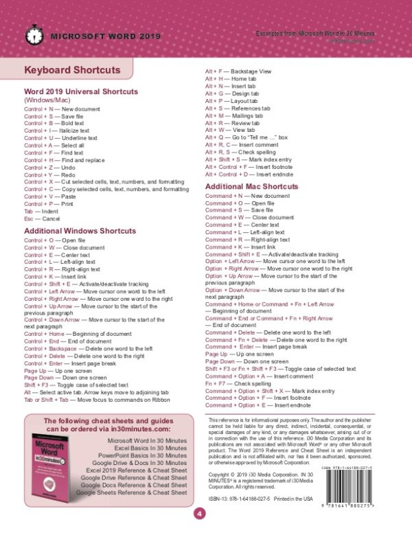Word 2019 Cheat Sheet (printed)